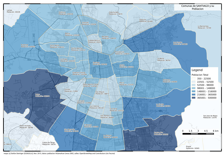 Mapa de poblacion de santiago 2002 segun comuna geonode for Calles de santiago de chile
